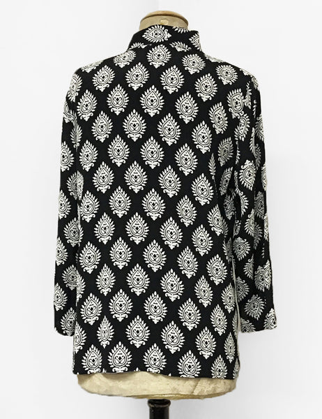 Black & White Retro Turtle Stamp Button Up Mandarin Blouse