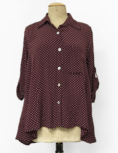 Burgundy & Ivory Polka Dot Button Up Collared Hi-Low Blouse