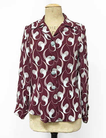 Raisin & Mint Deco Twister 1940s Style Button Up Hepburn Blouse