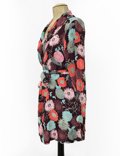 Burgundy Colorful Mum Print Shawl Collar Kimono Robe