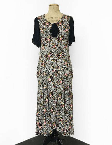 Sweet Ragtime Floral Contrasting 1920s Style Charleston Flapper Dress