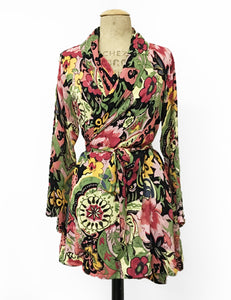 Colorful Gypsy Sheer Floral Print Shawl Collar Kimono Robe