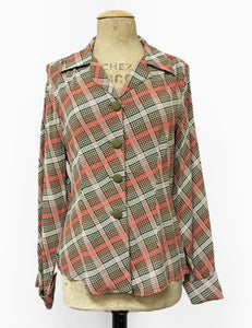 Pink & Green Plaid 1940s Style Button Up Hepburn Blouse - FINAL SALE