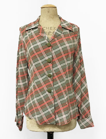 Pink & Green Plaid 1940s Style Button Up Hepburn Blouse