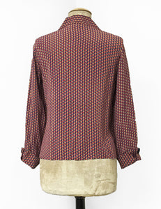 Geometric Esher Print 1940s Style Button Up Hepburn Blouse - FINAL SALE