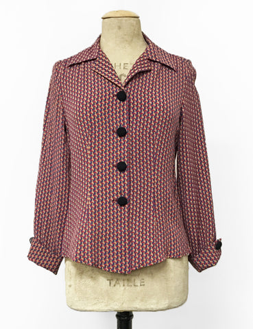 Geometric Esher Print 1940s Style Button Up Hepburn Blouse