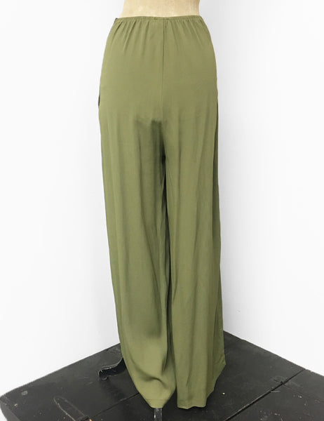Solid Olive Green 1940s Style High Waisted Palazzo Pants