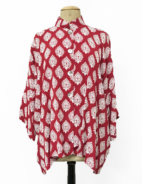 Red & White Turtle Stamp Print Button Up Luna Kimono Blouse