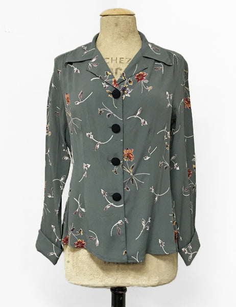 Silver Bouquet Floral 1940s Style Button Up Hepburn Blouse