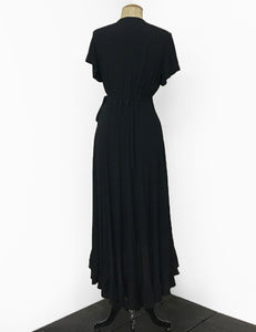 1970s Inspired Solid Black Bohemian Hi Low Ruffle Maxi Dress