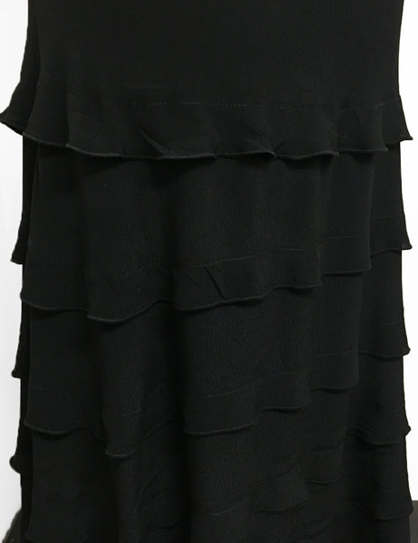 Solid Black Layered Boot Length Cake Skirt