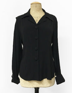 Solid Black 1940s Style Button Up Hepburn Blouse
