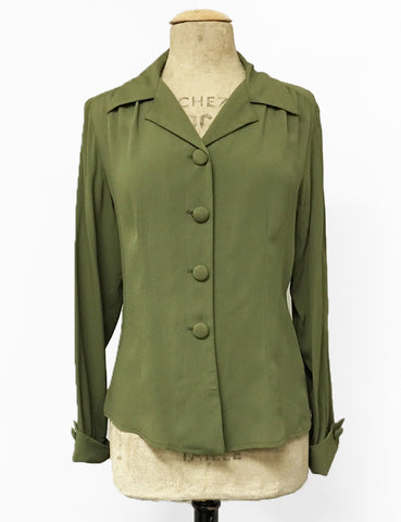 Solid Olive Green 1940s Style Button Up Hepburn Blouse