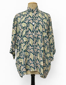 Teal Egyptian Fans Print Button Up Luna Kimono Blouse
