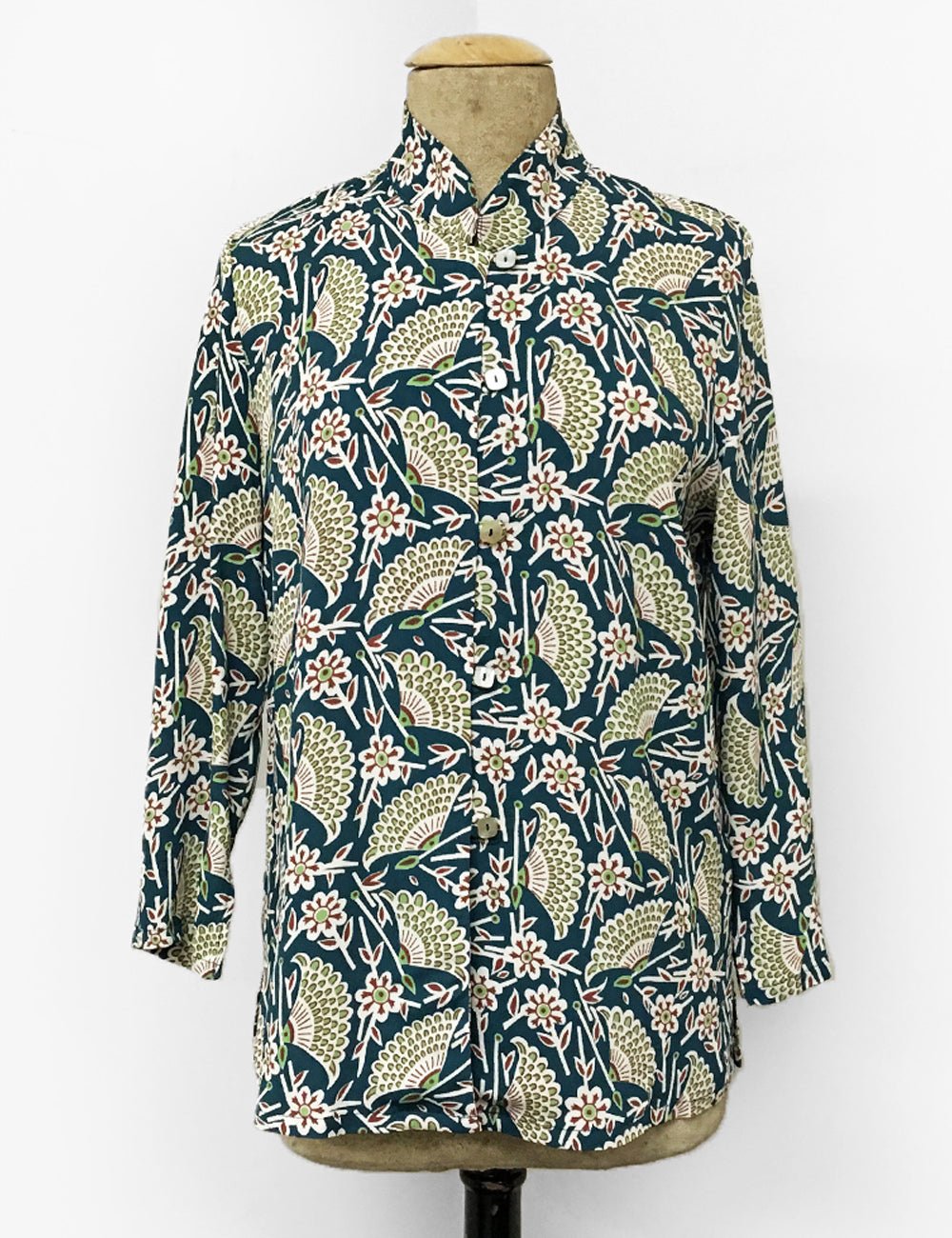 Teal Green Egyptian Fan Print Button Up Mandarin Blouse