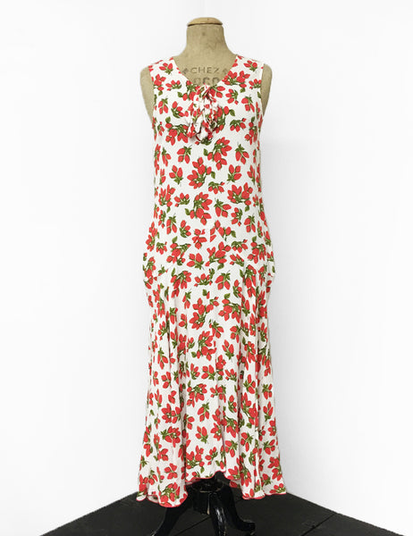 Ivory & Red Rosebud Print Sleeveless 1920s Charleston Flapper Dress