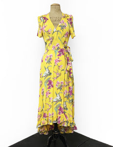 1970s Inspired Yellow & Purple Iris Bohemian Hi Low Ruffle Maxi Dress