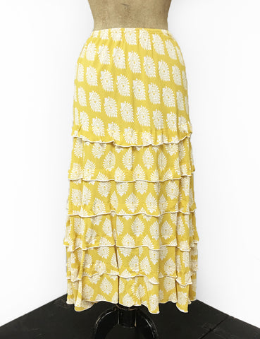 Yellow Vintage Turtle Stamp Print Layered Boot Length Cake Skirt