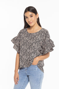 Leila + Luca Day Dreamer Top Black Taupe Ditsy