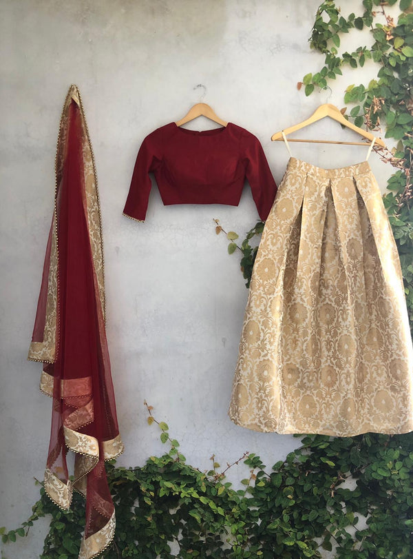 Maroon Pleats & Brocade