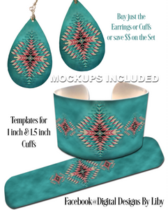 TURQOUISE GEOMETRIC BEADS **Choose Earrings or Cuffs or Save $$ on the Set**