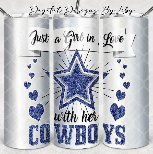 GIRL IN LOVE WITH COWBOYS 20oz SKINNY TUMBLER