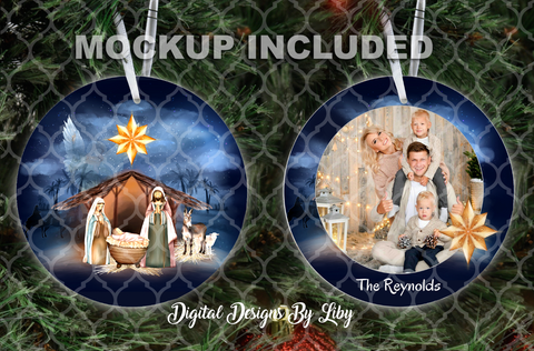 NATIVITY ROUND & LONDON (Front & Back Designs+Mockups)