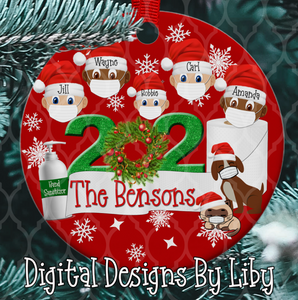 2020 XMAS  Round, London & Square Ornament Designs + Mockups + Mix/Match Clipart)