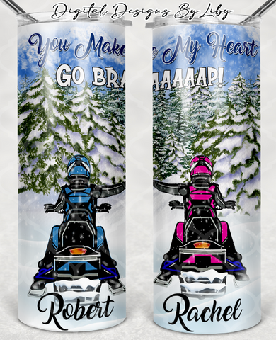 SNOWMOBILE LOVE FOR TAMMY 20oz SKINNY & MUG DESIGNS