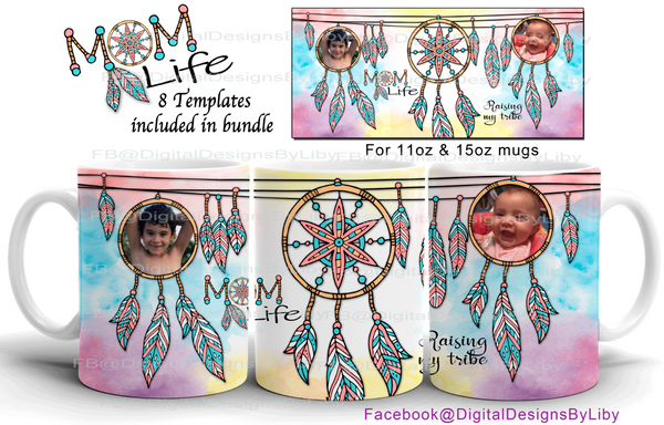 BOHO Mom Life Mug Templates (8 designs)
