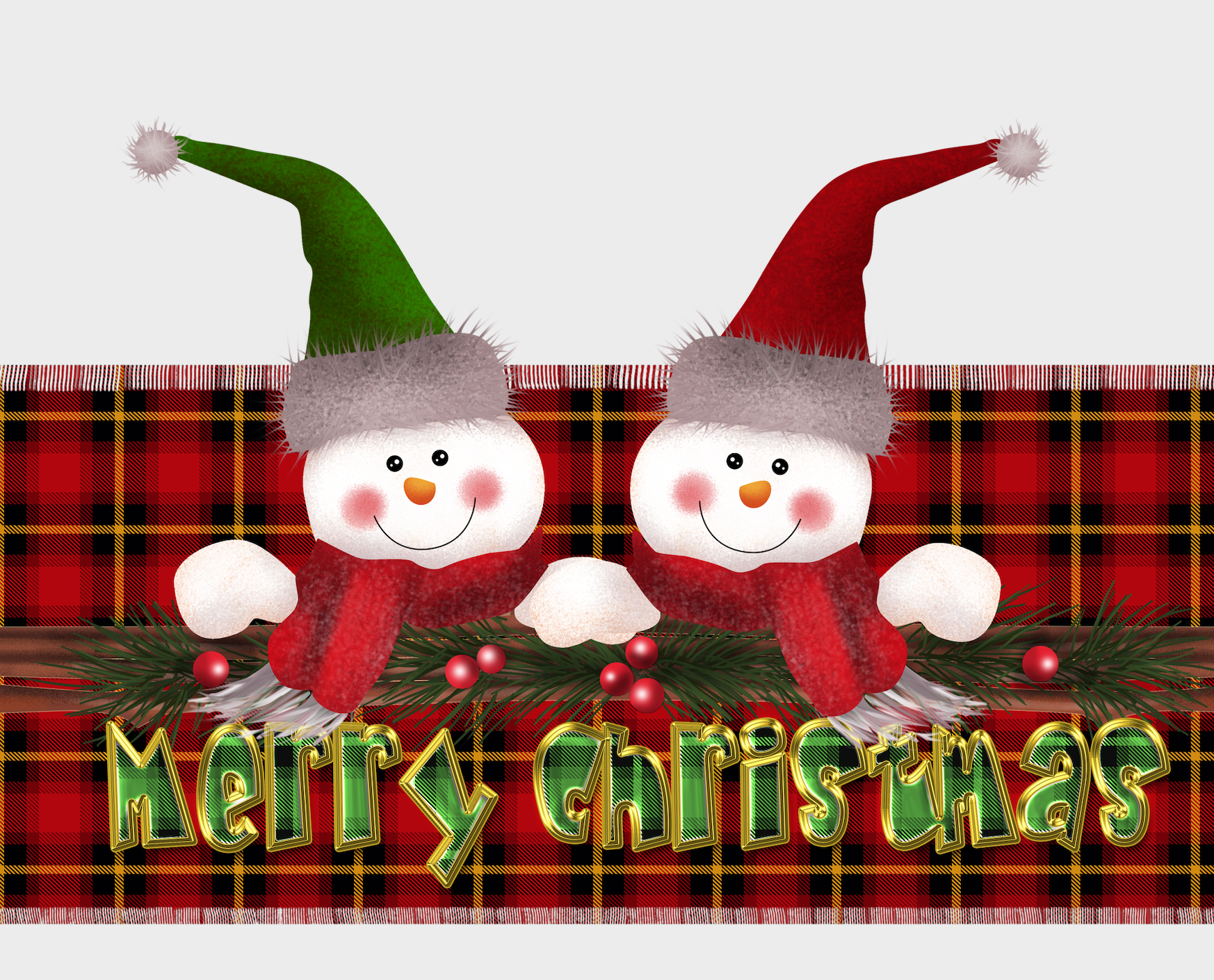 XMAS PLAID 2 SNOWMEN MEGA BUNDLE