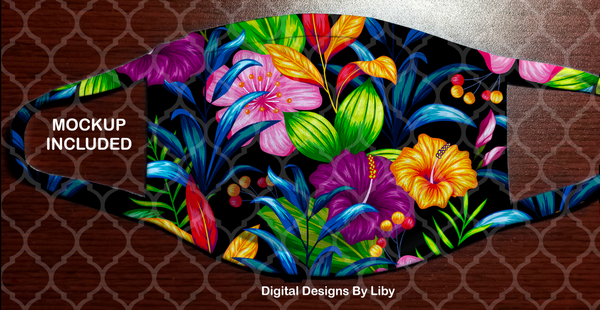 FLORAL PURPLE HIBISCUS (Full & Center Designs)