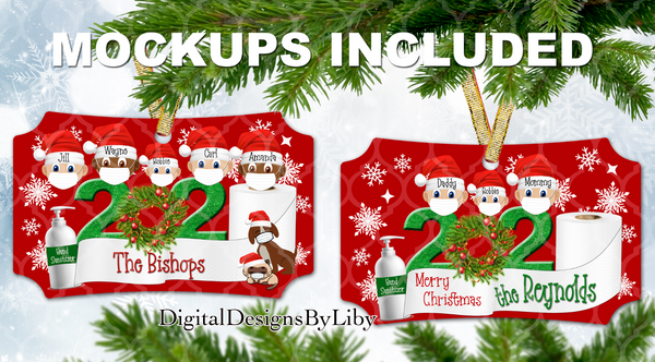 2020 XMAS Rectangle, Benelux & Berlin Ornament Designs + Mockups + Mix/Match Clipart