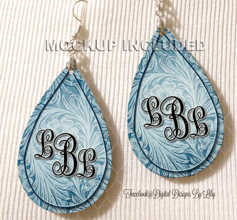 Floral Tooled Blue Monogram Earrings