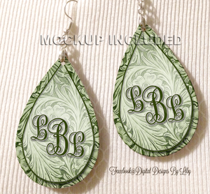 Floral Tooled Green Monogram Earrings