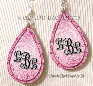 Floral Tooled Pink Monogram Earrings