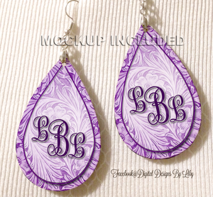 Floral Tooled Purple Monogram Earrings