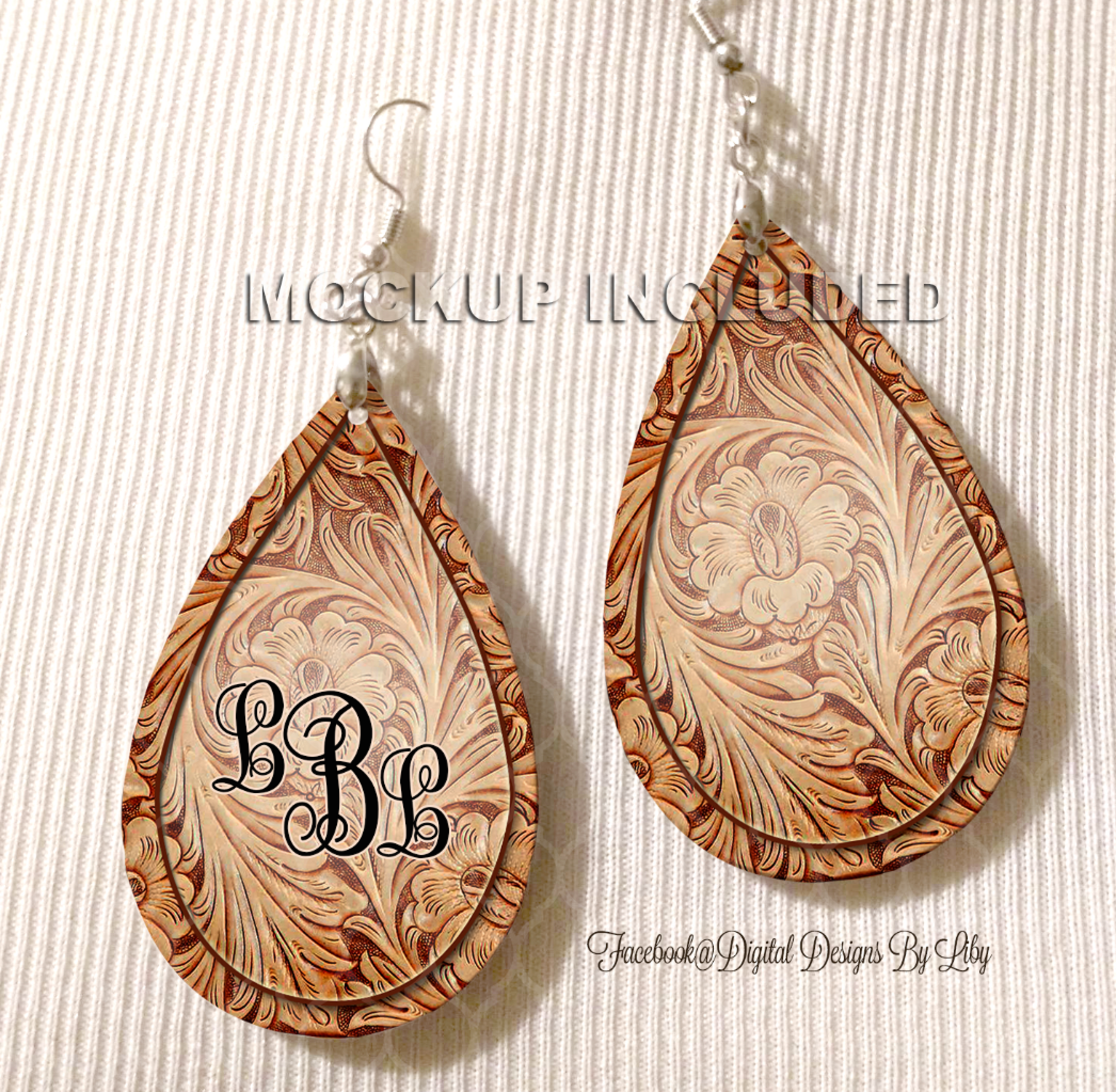 Floral Tooled Tan Monogram Earrings