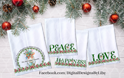 PEACE LOVE & HAPPINESS SHINE TOWELS ONLY (4 Designs+Bonus Mockups)