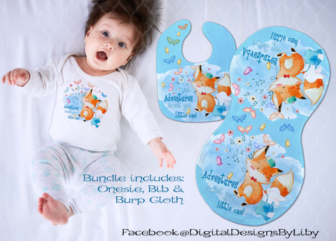 ADVENTURES AWAIT FOX!  (T-Shirt, Bib & Burpie Designs)