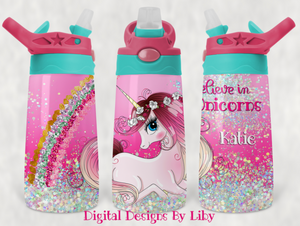 BELIEVE IN UNICORNS KID'S FLIP TOP Tumbler