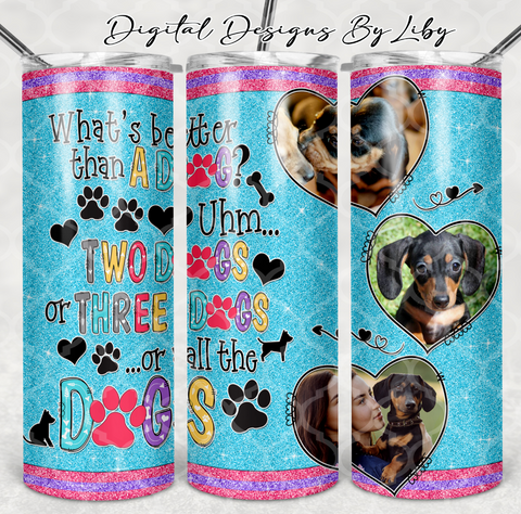 WHAT'S BETTER THAN A DOG 20oz SKINNY, MUG & 12x12 SHIRT DESIGNS