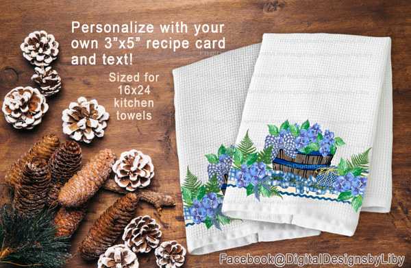 Grandma's Recipe Kitchen Towel Set of 2 Designs (Blueberry)