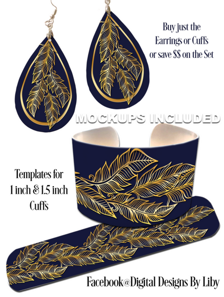 BOHO CHIC NAVY GOLD **Choose Earrings or Cuffs or Save $$ on the Set**