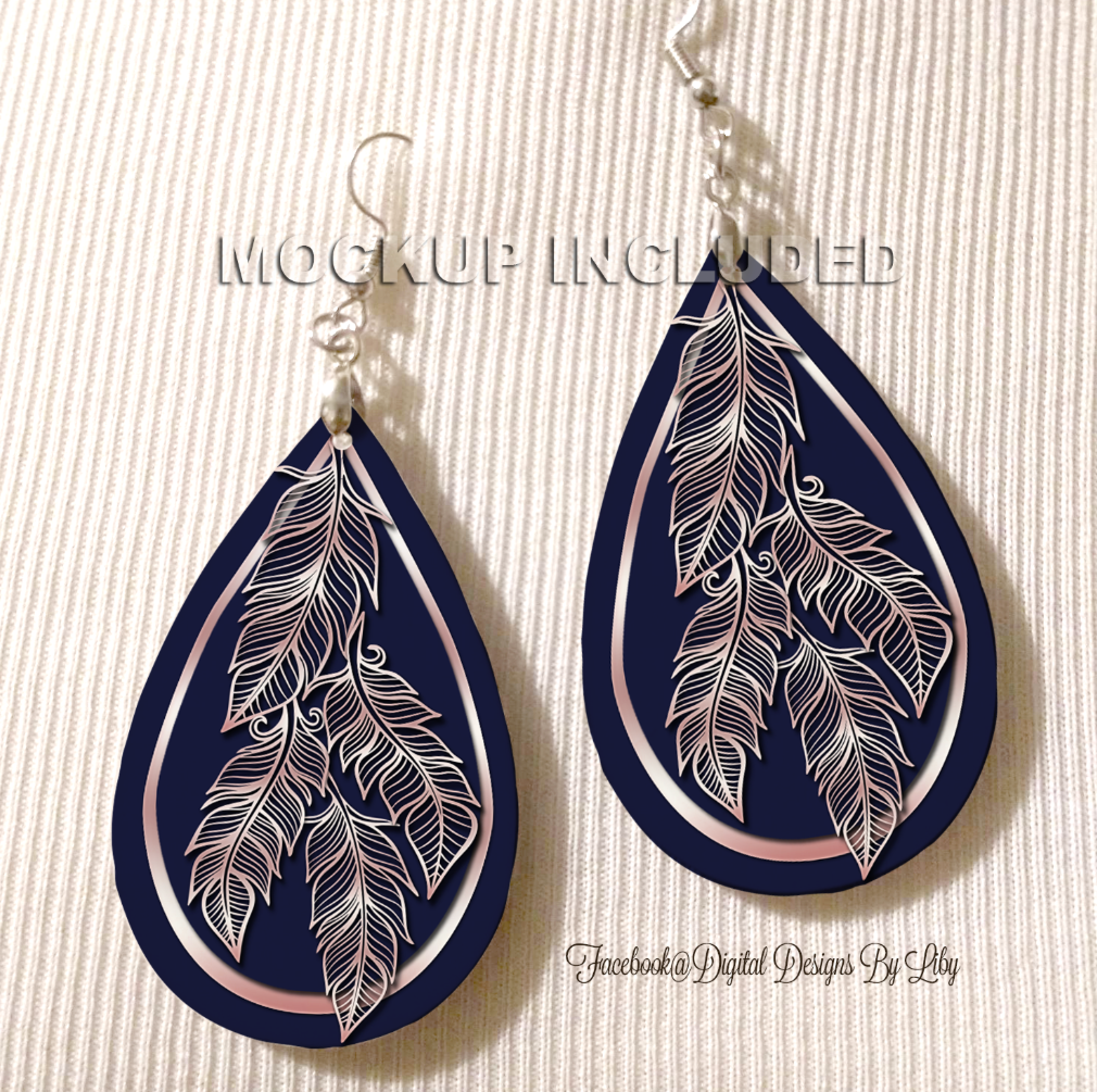 BOHO CHIC NAVY ROSE **Choose Earrings or Cuffs or Save $$ on the Set**