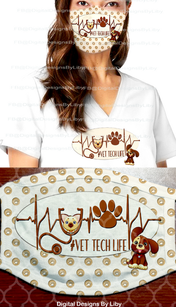 VET TECH LIFE (3 Mask & 2 T-Shirt/Pillow Designs + 3 Mockups)