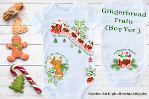 GINGERBREAD TRAIN ONESIE & TEE (Boys & Girls Versions)