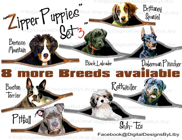 ZIPPER PUPPIES SET 3 (CHOOSE FROM 8 BREEDS)