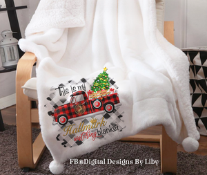 XMAS HALLMARK TRUCK BLANKET, T-Shirt & Pillow Design II