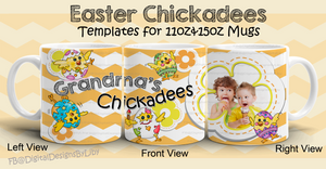 Easter Chickadees Mug Template